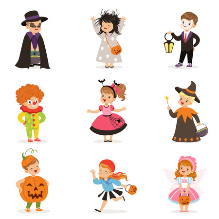 ute happy little kids in different colorful halloween costumes set, Halloween children trick or treating vector Illustrations 向量圖像