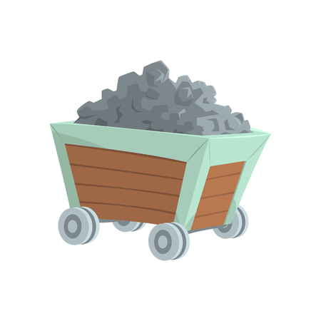 Coal mine trolley, mining industry concept cartoon vector Illustration Ilustração