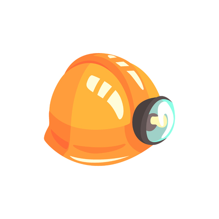 Orange miners helmet, mining industry equipment cartoon vector Illustration