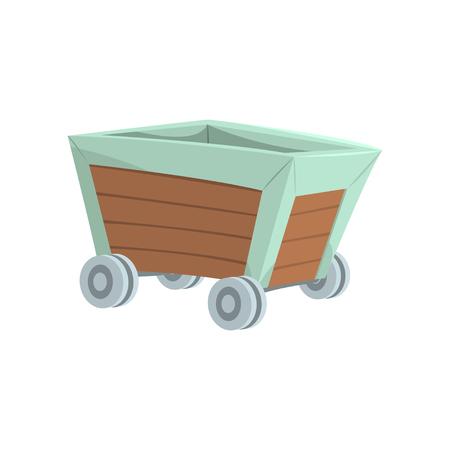 Retro wooden wagon, mining industry concept cartoon vector Illustration