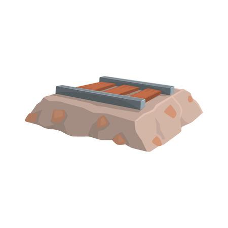 Mine railway, mining industry concept cartoon vector Illustration