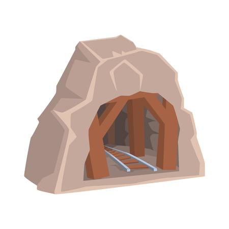 鉄道で木製の鉱山の入り口, 鉱業業界の概念漫画のベクトルイラスト
