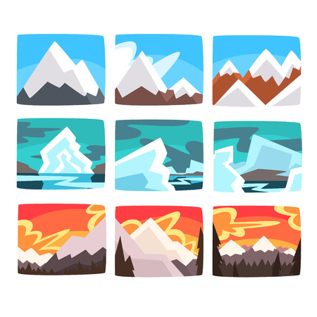 Beautiful mountain landscapes set in different times of day colorful vector Illustrations