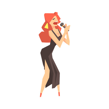 Pop art young woman singer character singing with microphone cartoon vector Illustration on a white background