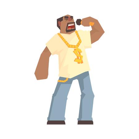 마이크, 힙합 두드리는 소리를 들고 아프리카 남성 가수 캐릭터 만화 벡터 일러스트 흰색 배경에 일러스트