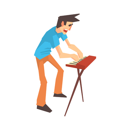 Male pianist of rock band playing keyboard cartoon vector Illustration