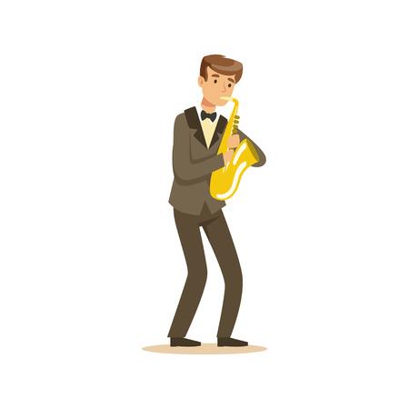Mannelijke musicus die een klassieke kostuum speelssaxofoon, de klassieke vectorillustratie van muziekprestaties draagt