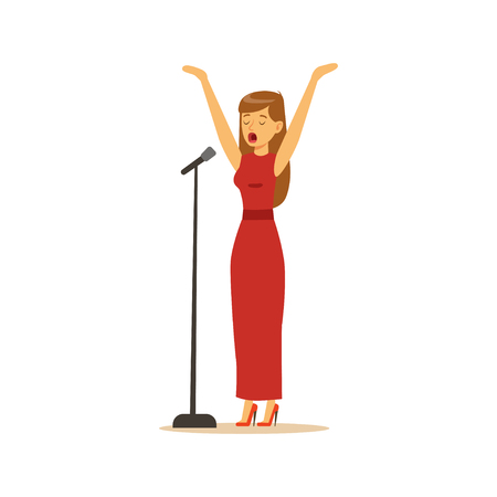 Beautiful woman singer in red dress performing a song vector Illustration