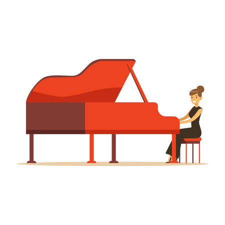Beautiful woman in black dress playing red grand piano vector Illustration on a white background