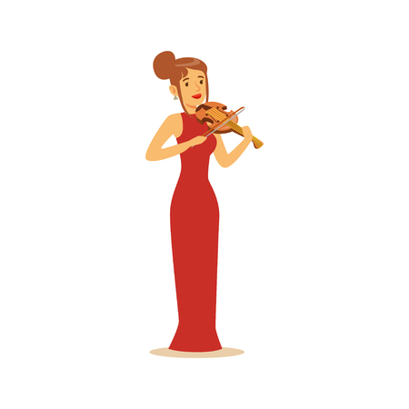 Elegantly dressed female musician playing violin, classical music performance vector Illustration