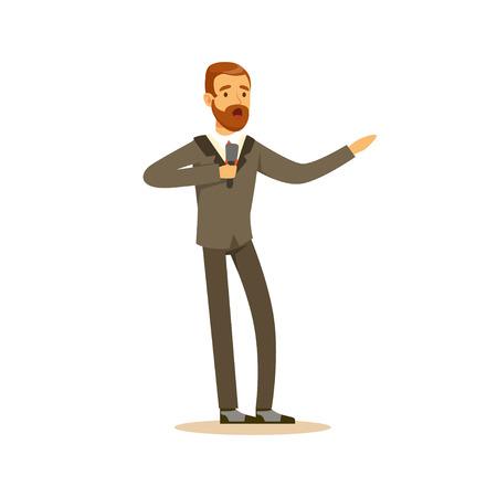 Elegantly dressed male singer singing with microphone vector Illustration