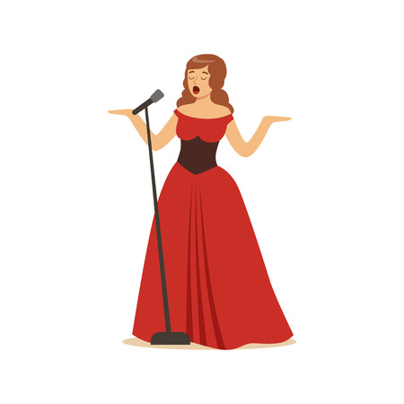 Beautiful woman singer in long red dress singing with microphone vector Illustration