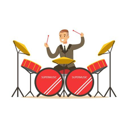 ドラムキットのベクトルイラストの後ろにドラムを演奏する古典的なスーツを着ているミュージシャンの男