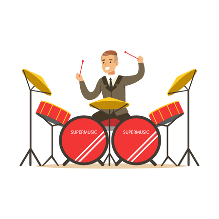 Musician man wearing a classic suit playing drums behind the drum kit vector Illustration Illustration