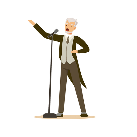 singer man wearing an elegant tuxedo performing a song vector Illustration