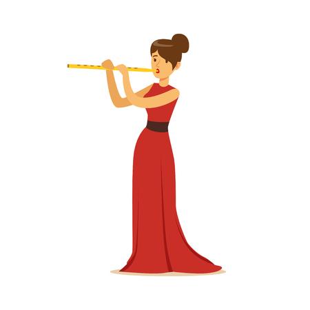 Elegant geklede vrouwelijke musicus speelfluit, de klassieke vectorillustratie van muziekprestaties