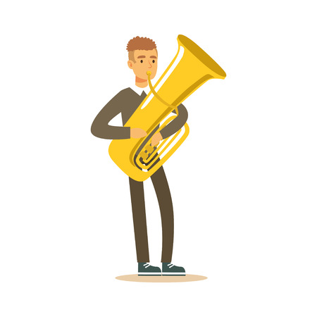 Musician man wearing a classic suit playing french horn, classical music performance vector Illustration on a white background