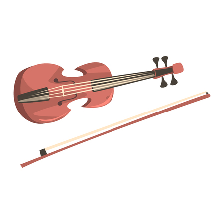 Wooden violin with fiddle stick, musical instrument cartoon Illustration