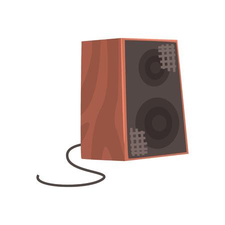 木製オーディオスピーカー、音楽機器漫画ベクトルイラスト  イラスト・ベクター素材