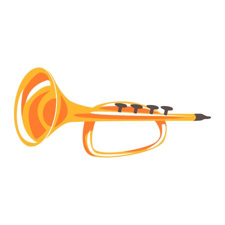 Trompet, muziekinstrument cartoon vector illustratie Stock Illustratie