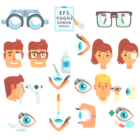 Ophthalmologist diagnostic set, treatment and correction of vision cartoon vector Illustrations Illustration