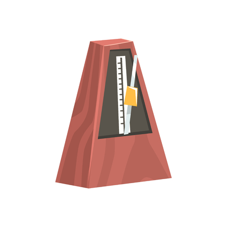 Classic metronome, musical equipment cartoon vector Illustration Иллюстрация