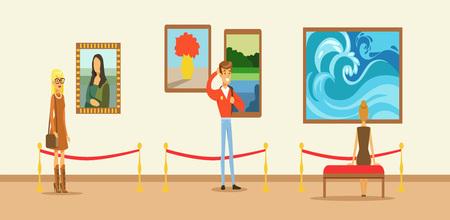 博物館の訪問者のギャラリーの壁に掛かっている絵を見て、博物館を表示する人々 を示す  イラスト・ベクター素材