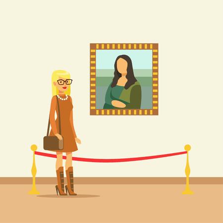 갤러리 벽에 매달려 그림을보고 젊은 여자, 사람들이 박물관을보고 전시