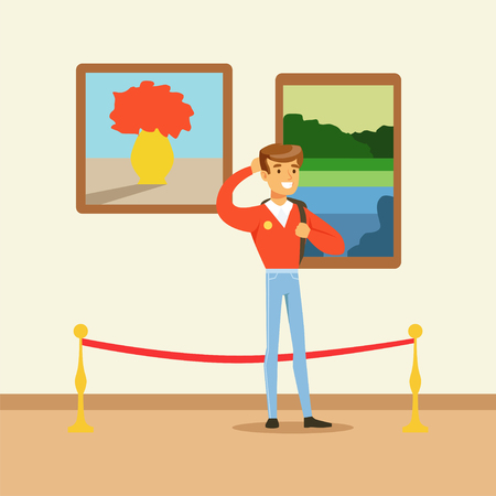 Young tourist man standing in art gallery in front of colorful paintings, people viewing museum exhibit