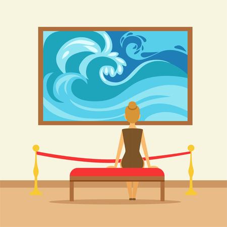 여자 벤치에 앉아 갤러리 벽에 매달려 그림을보고, 사람들이 박물관을보고