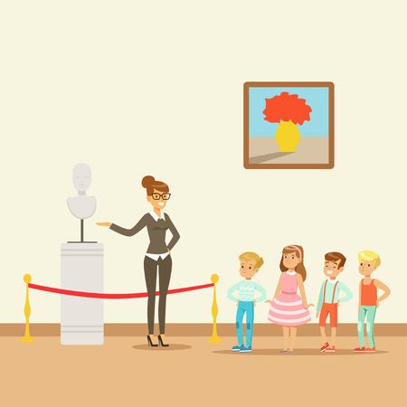 예술의 고전 작품, 박물관으로의 학교 여행을 바라 보는 박물관의 아이들 일러스트