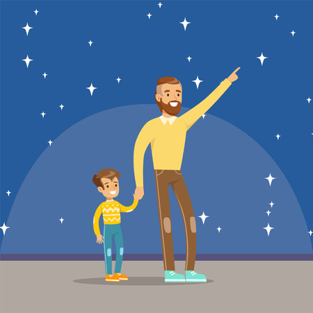 Father and son at the planetarium icon.