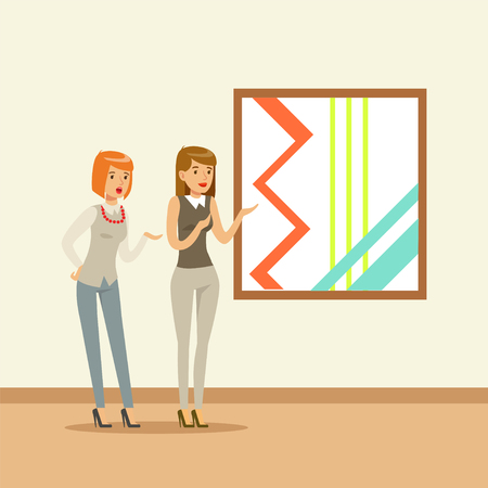Two women standing in modern art gallery in front of colorful painting, people attending museum Illustration