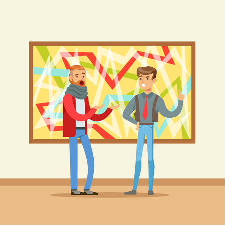 Two men standing in modern art gallery and discussing colorful painting, people attending museum