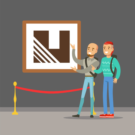 벽에 매달려 그림을보고 현대 미술 갤러리에 서있는 두 젊은이 박물관에 참석하는 사람들