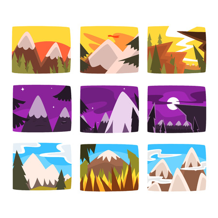 一日の異なる時間に設定された山の風景  イラスト・ベクター素材