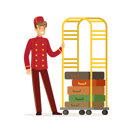 Smiling bellhop character wearing red double breasted uniform with luggage cart, hotel staff vector Illustration on a white background