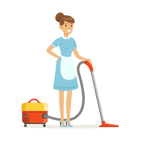 Smiling housekeeping character wearing uniform with vacuum, cleaning service of hotel vector Illustration on a white background Zdjęcie Seryjne - 85723158
