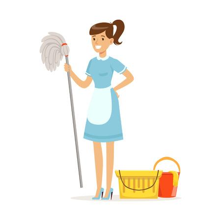 Sorridente personagem de empregada doméstica vestindo uniforme com balde e esfregona, serviço de limpeza do hotel vector Illustration sobre um fundo branco