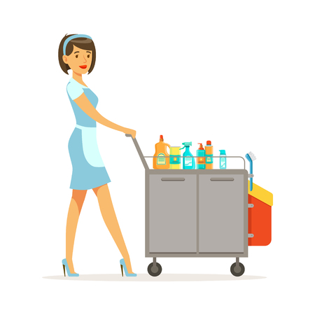 Maid character wearing uniform pushing janitor cart full of supplies and equipment, cleaning service of hotel vector Illustration