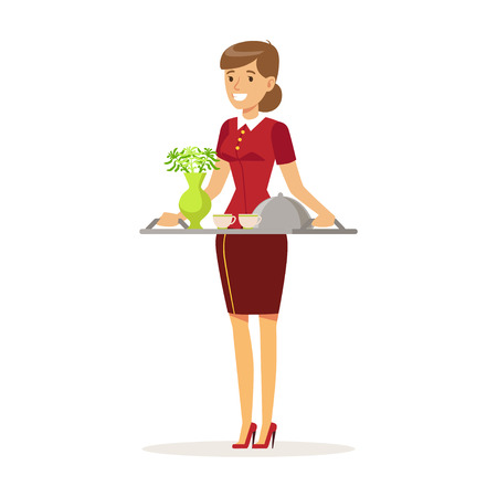 Cheerful waitress character wearing uniform holding breakfast order, , hotel service vector Illustration