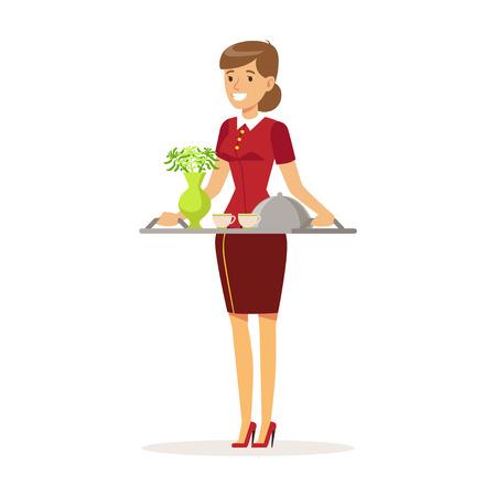 Cheerful waitress character wearing uniform holding breakfast order, , hotel service vector Illustration