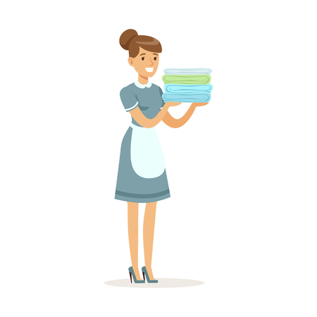 Smiling maid character wearing uniform holding a stack of clean towels, cleaning service of hotel vector Illustration