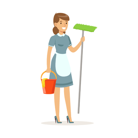 Cheerful maid character wearing uniform standing with bucket and mop, cleaning service of hotel vector Illustration