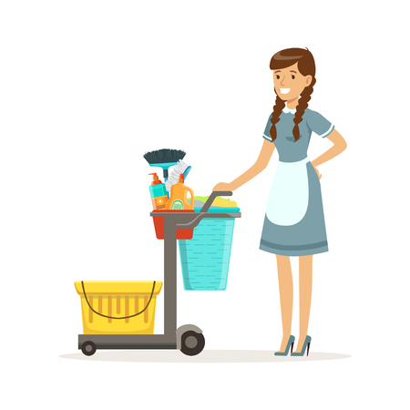 Cheerful maid character wearing uniform standing with janitor cart full of supplies and equipment, cleaning service of hotel vector Illustration