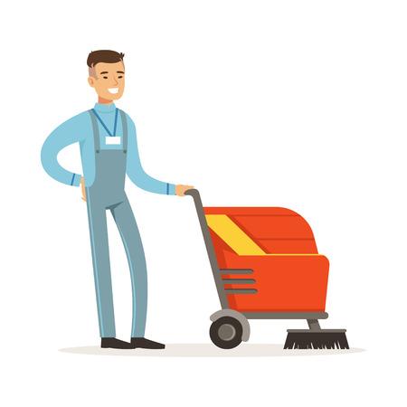 Jeune, concierge souriante, à, laver, machine, nettoyage, et, polissage, plancher, vecteur Banque d'images - 85857647