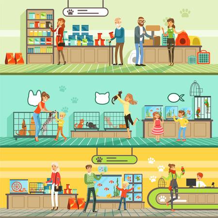 Set di banner orizzontali per negozio di animali, persone che comprano animali domestici, pesci d'acquario, cibo per animali, gabbia, accessori per la cura Archivio Fotografico - 85857649