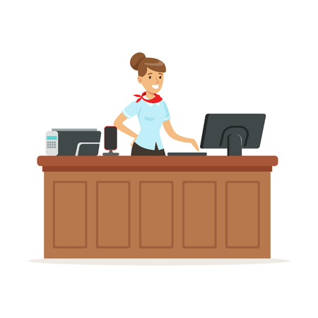 Friendly young woman behind the reception of a hotel, reception service vector Illustration Ilustrace