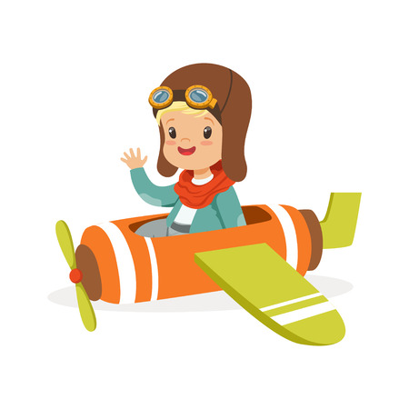 Cute little boy in pilot costume flying toy plane, kid dreaming of piloting the plane vector Illustration