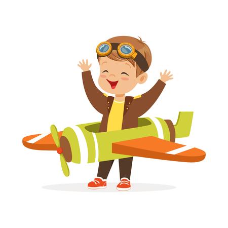 Netter kleiner Junge im Versuchskostüm Spielzeugflugzeug, Kind träumend vom Pilotieren der Flugzeugvektorillustration Vektorgrafik
